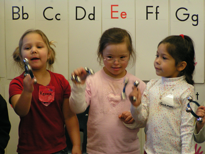 Students singing during circle time