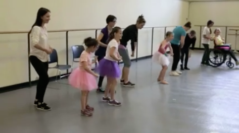 Inclusive ballet class during rehersal