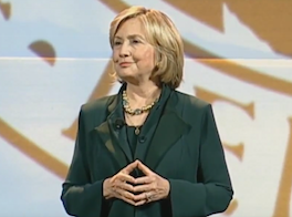 Hillary Rodham Clinton speaking during a conference