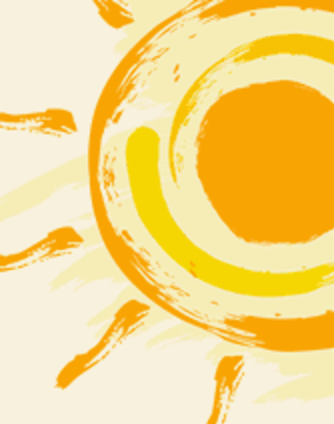 Illustration of a yellow and orange sun