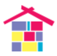 Logo of a multi-colored house