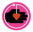 Logo of a hand holding a red heart within a pink circle