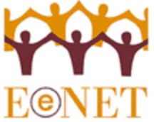 Illustration of figures holding hands in a circle over the acronym EENET