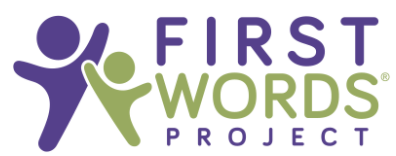 Logo of two figures raising hands adjacent to First Words Project