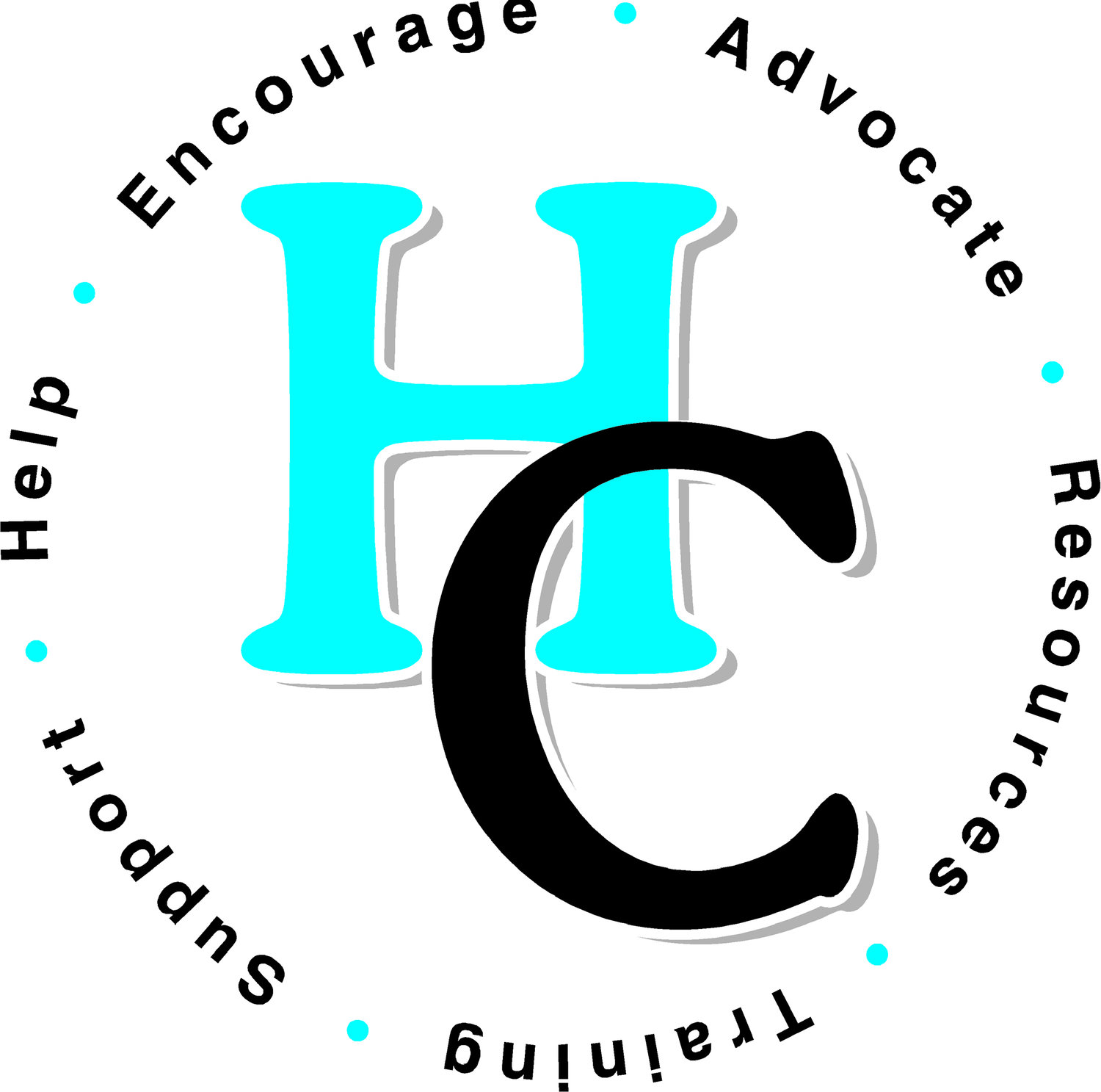 Logo of the letters HC, encircled by the words Encourage, Advocate, Resoruces, Training, Support, and Help
