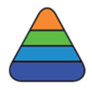 Rounded triangle with 4 multi-colored levels