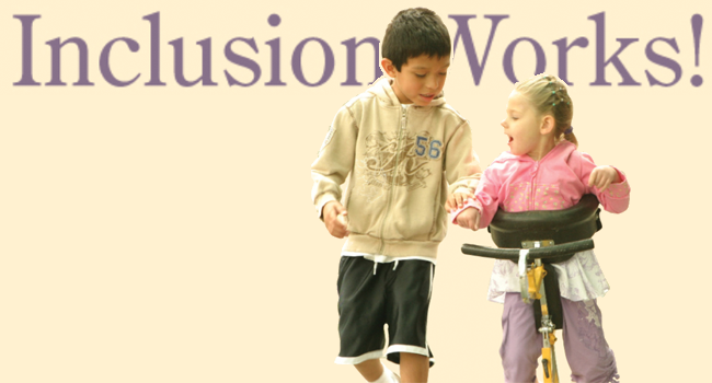 A boy and girl walking together with text linking to the Inclusion Works! page.