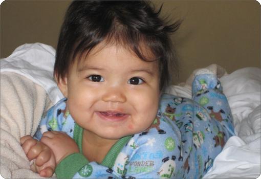 A toddler in pajamas