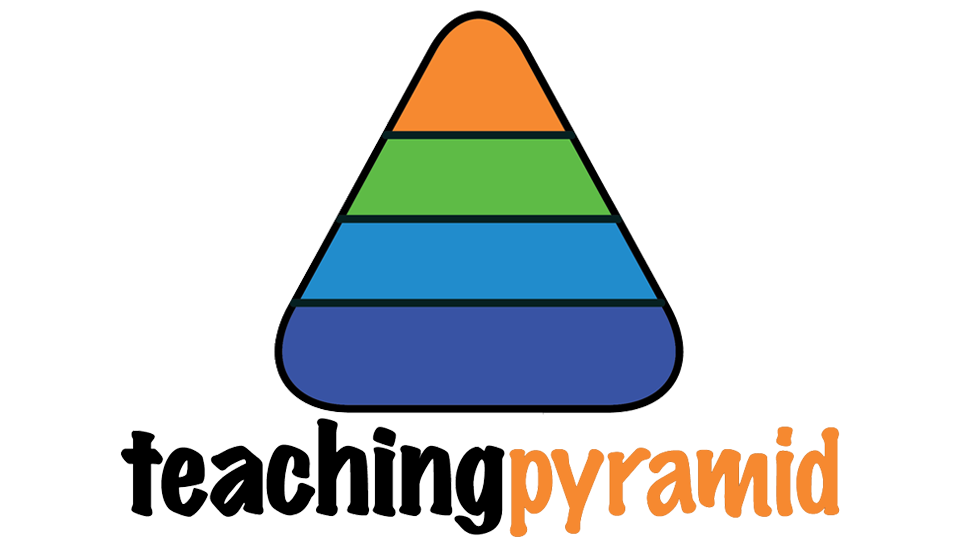 Multi-colored pyramid over the words Teaching Pyramid