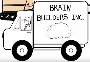 Illustration of a truck that reads Brain Builders