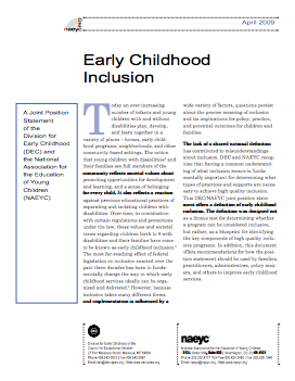 Cover of the Early Childhood Inclusion Joint Position Statement
