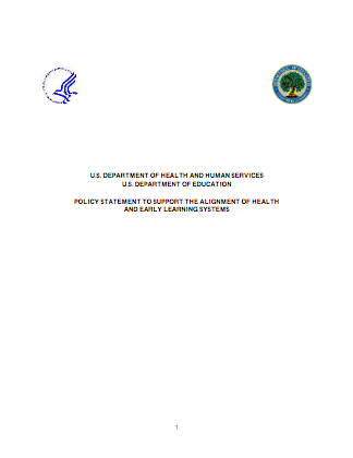 Cover for the Policy Statement on Health and Early Learning Systems