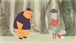 Cartoon bear and fox conversing