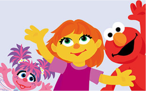 Abby Cadaby, Julia and Elmo waving