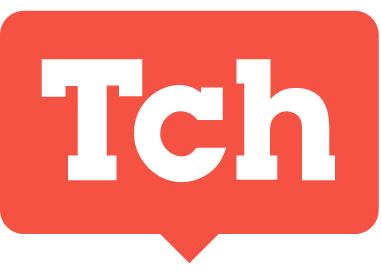 Orange word bubble that reads Tch