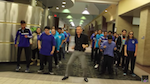 Teacher and students dancing