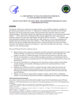 Cover of the Expulsion and Suspension Policy Statement