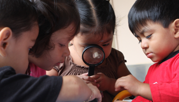 Four children using magnifying glass to examine objects