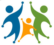 Logo of multi-colored figures with hands held high