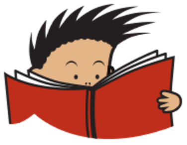 Illustration of a child reading a book