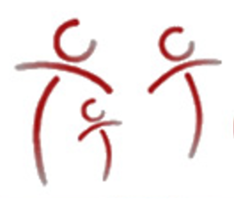 Logo of 3 stylized figures of varying sizes