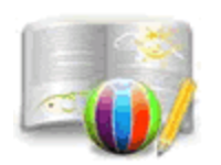 Illustration of an opened book, a beach ball and a pencil