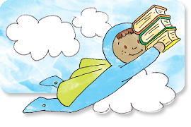Illustration of Super Friend carrying books