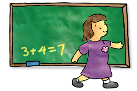 Illustration of child and chalk board